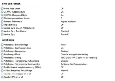 NVIDIA Graphics Card settings