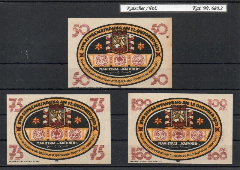 Katscher (Notgeld) Serie completa de 10, 75 y 10 pf Katsch10