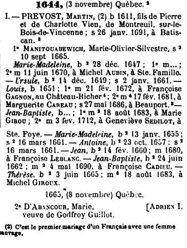 Les Descendants de Martin Prévost et de  Marie Olivier Manitouabewich 10426210