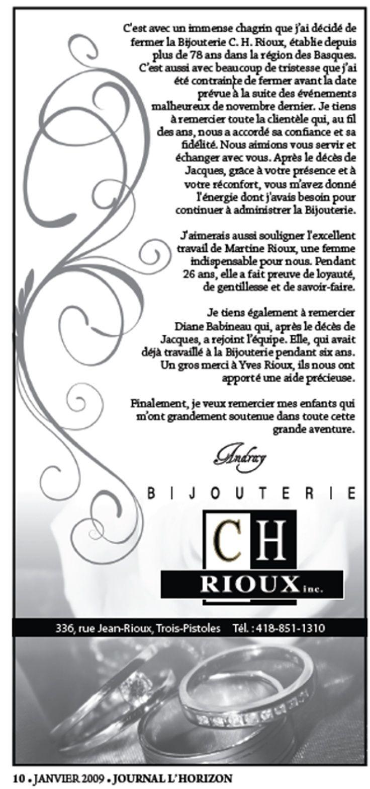 78 ans d'histoire Bijouterie C.-H. Rioux Trois-Pistoles Fermet10