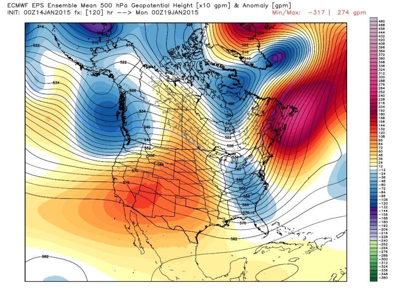 Ensemble Long Range Forecast Case Study #2 (500mb and 850mb) Eps_z514
