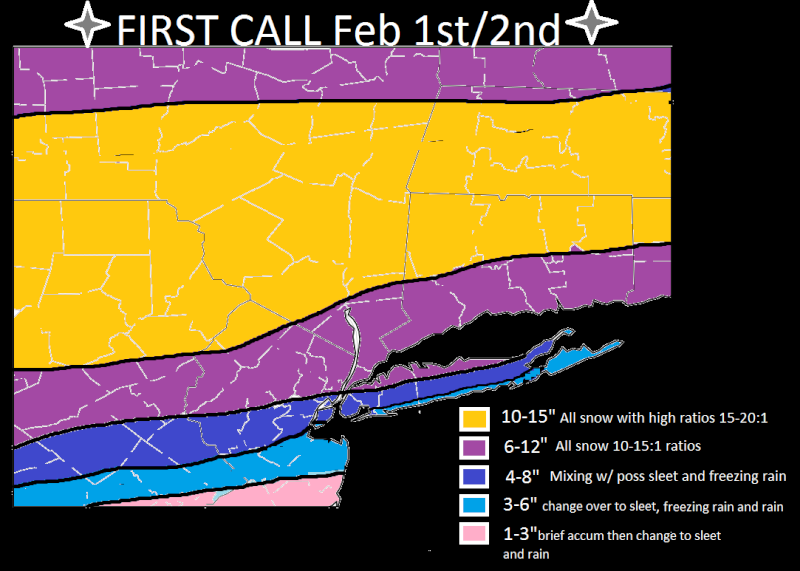 Update #2: 1st Call Snow Map, Intense Winter Storm Coming  Feb_1s10
