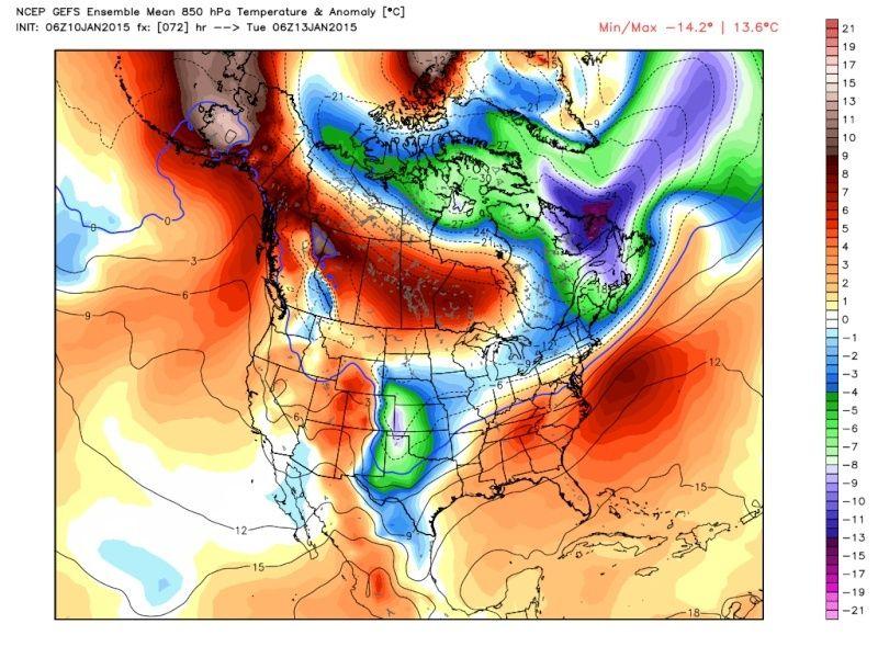 Ensemble Long Range Forecast Case Study #1 (500mb and 850mb) Gefs_t12