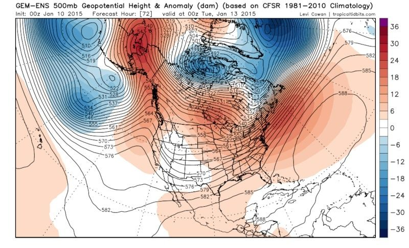 Ensemble Long Range Forecast Case Study #1 (500mb and 850mb) Gem-en12