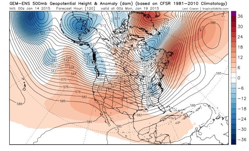 Ensemble Long Range Forecast Case Study #2 (500mb and 850mb) Gem-en14