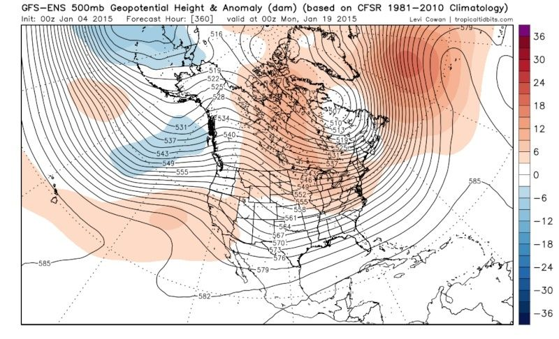 Ensemble Long Range Forecast Case Study #2 (500mb and 850mb) Gfs-en11