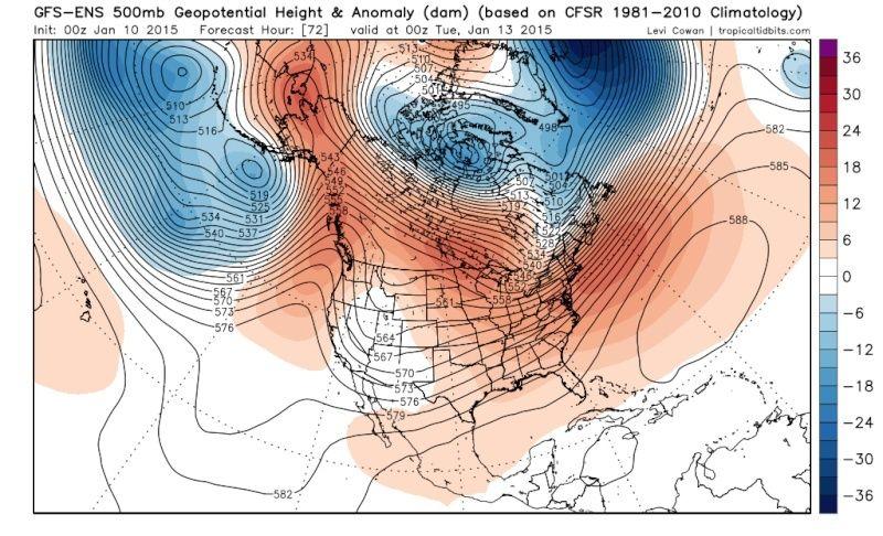 Ensemble Long Range Forecast Case Study #1 (500mb and 850mb) Gfs-en12