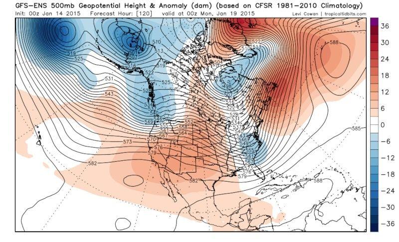 Ensemble Long Range Forecast Case Study #2 (500mb and 850mb) Gfs-en13