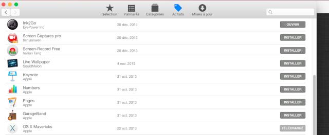 Mavericks plus dispo app store ? Oo11