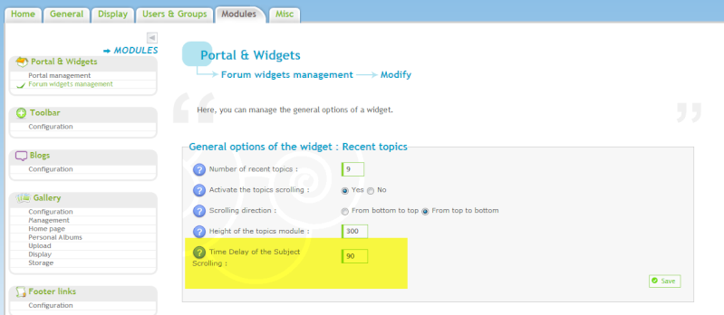 Recente topics widget Widegt10