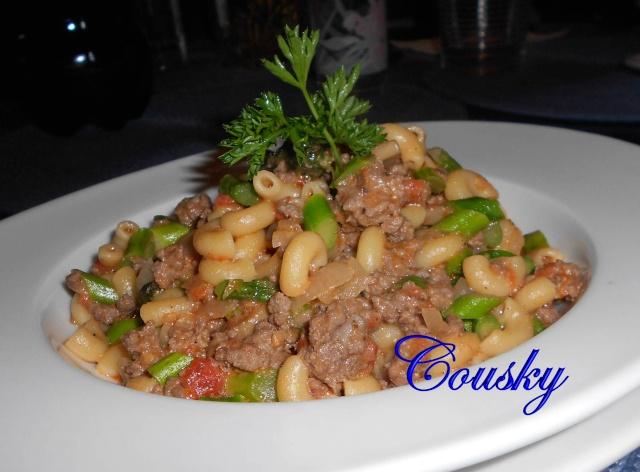 Macaroni à la viande, fromage, asperge et champignons. Amacar12