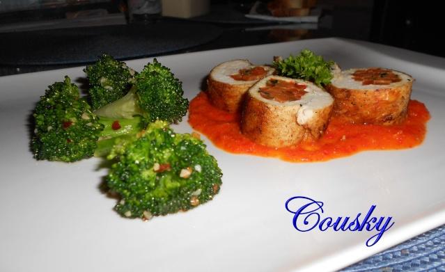 Ballotines de poulet et sauce au poivron rouge Baloti11