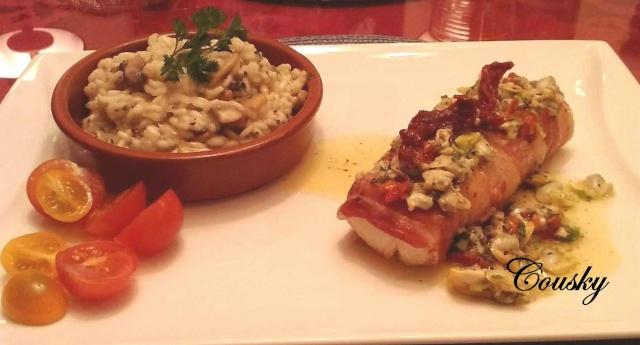 Filet de morue en robe de bacon, sauce vierge aux palourdes Poisso11