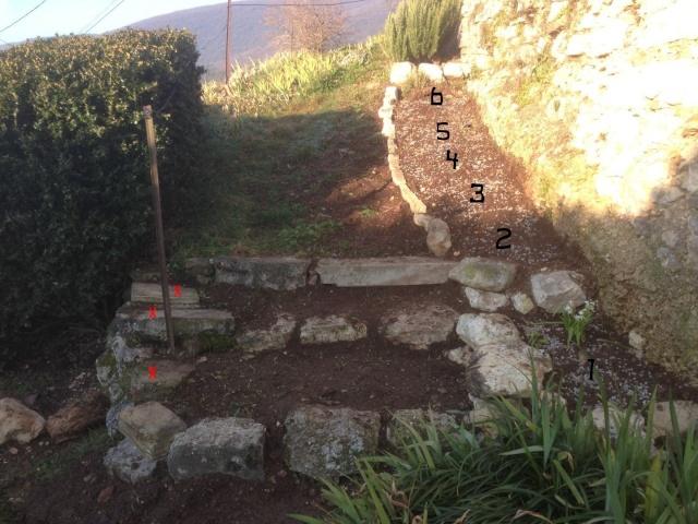 aménagement escalier et végétation contre un mur chez Abeille Octobr23