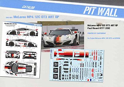 McLaren MP4/12C GT3 ART Grand Prix Kit Fujimi Décal PitWall Pit24d10
