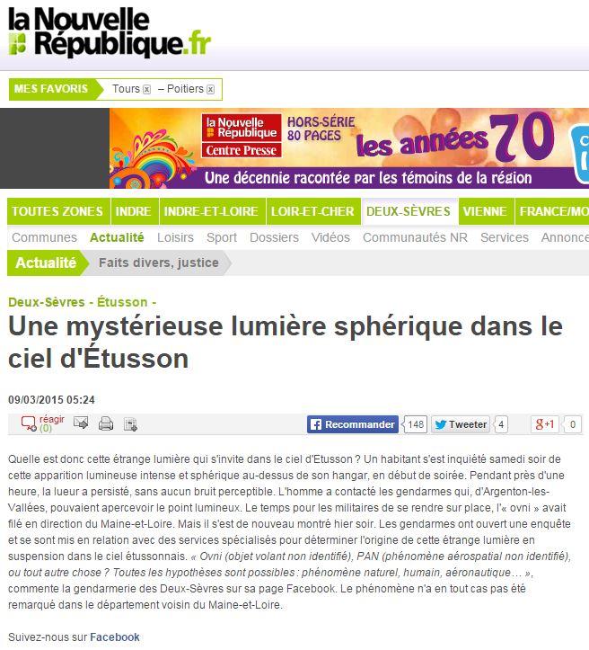 Lumière sphérique dans le ciel d'Étusson - Deux Sèvres Lumiyr10