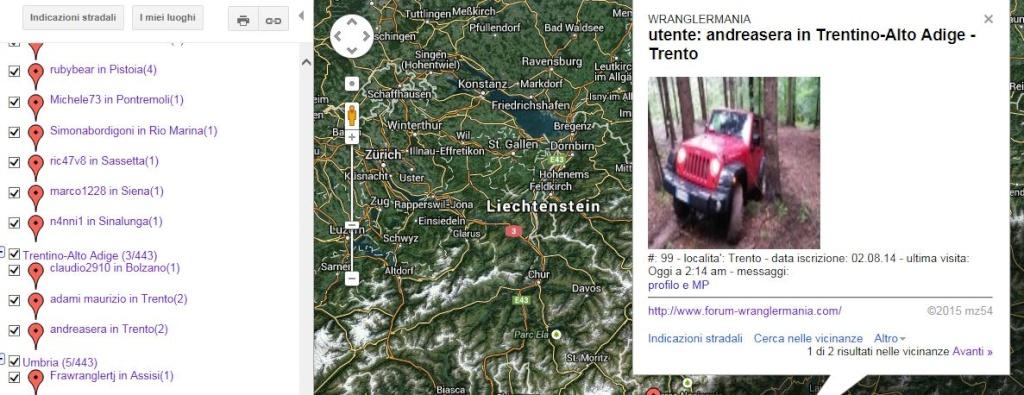 mappa lista ultimi 1000 utenti attivi creata dinamicamente Trento10