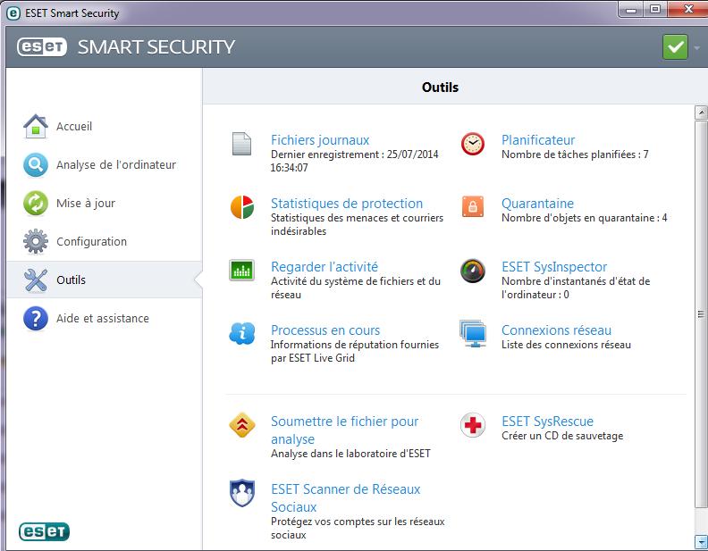 Test et présentation Eset Smart Security Eset-a14