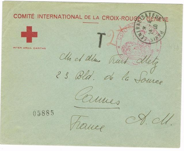 Enveloppe à en-tête Comité International de la Croix-Rouge Genève , TAD  24.4.40   PARIS CENTRALISATEUR  » . Taxée à 2 F Ccf08010