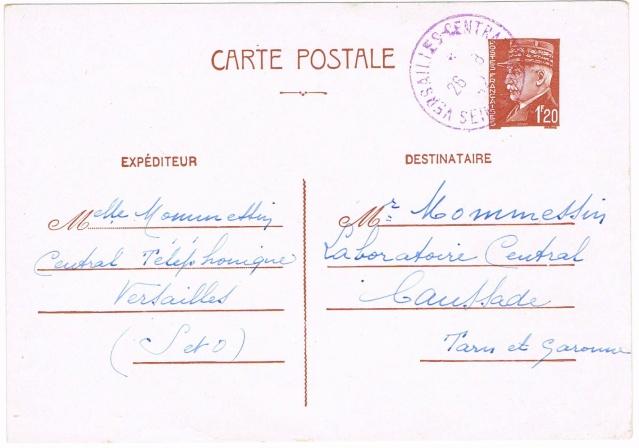 Timbre à date  «  VERSAILLES  CENTRAL  /  SEINE ET OISE  »  (1942) Ccf26010