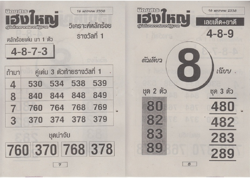 16-01-15 Thai Lottery Free Magazine Tips Heangy13