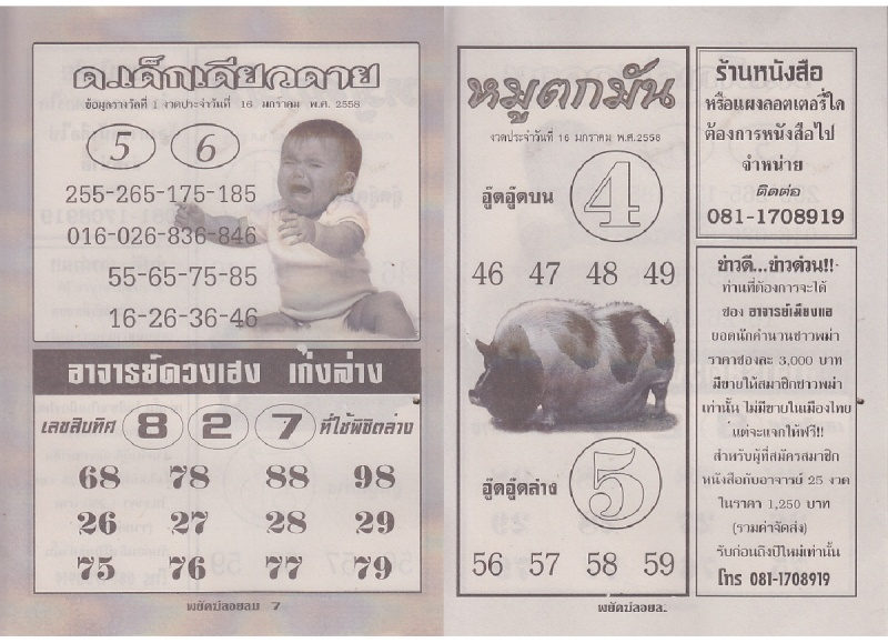 16-01-15 Thai Lottery Free Magazine Tips Payakl13