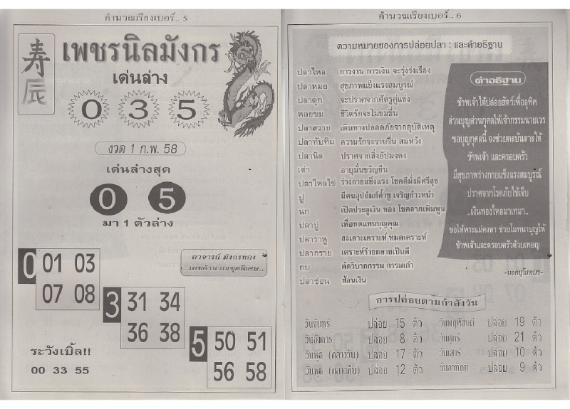 01-02-15 Thai Lottery Magazine Tips Tamra310