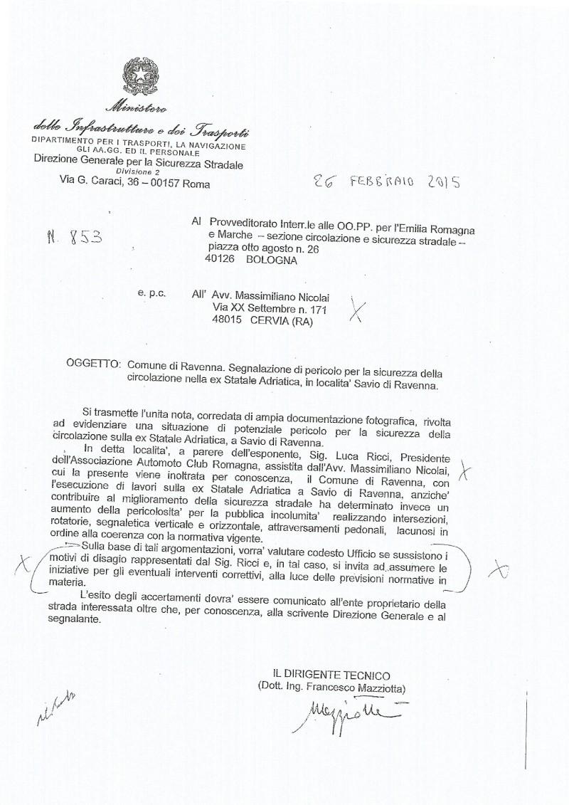 ESPOSTO AL MINISTERO DEI TRASPORTI E DELLE INFRASTRUTTURE E AL PREFETTO DI RAVENNA  - LAVORI RIQUALIFICAZONE EX STATALE ADRIATICA A SAVIO -  Rispos10