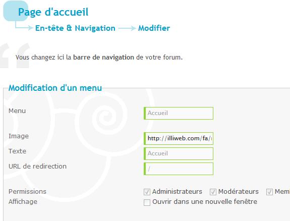 Impossible de modifier le texte du  menu Accueil Captur11