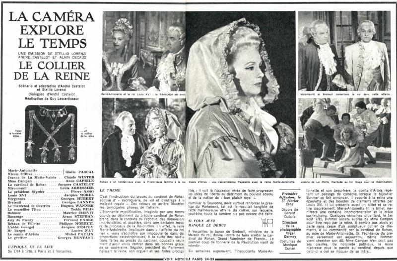 """""""L'affaire du collier de la reine"""", avec Giselle Pascal (Série """"La Caméra explore le temps"""" - 1962) 020le210"""