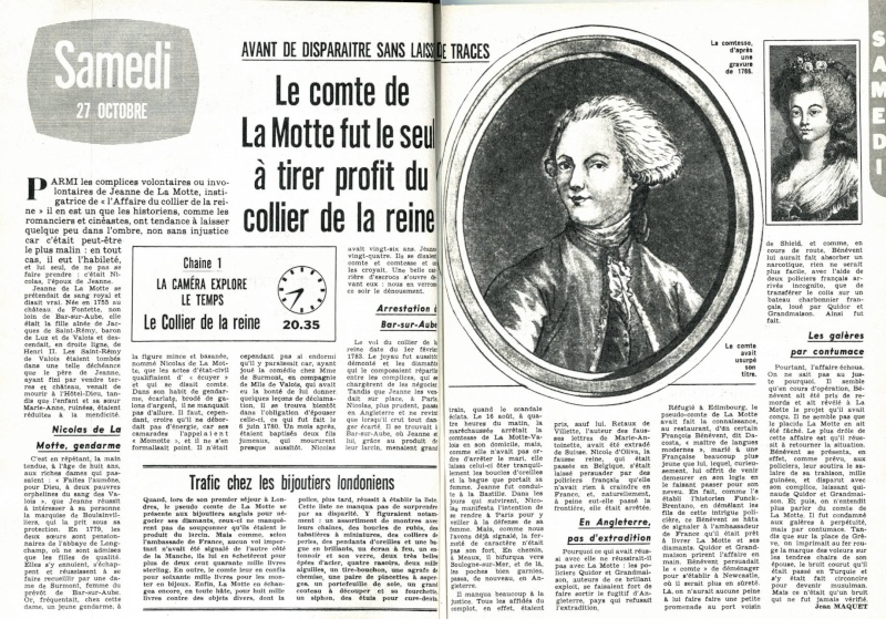 """""""L'affaire du collier de la reine"""", avec Giselle Pascal (Série """"La Caméra explore le temps"""" - 1962) Z20com10"""
