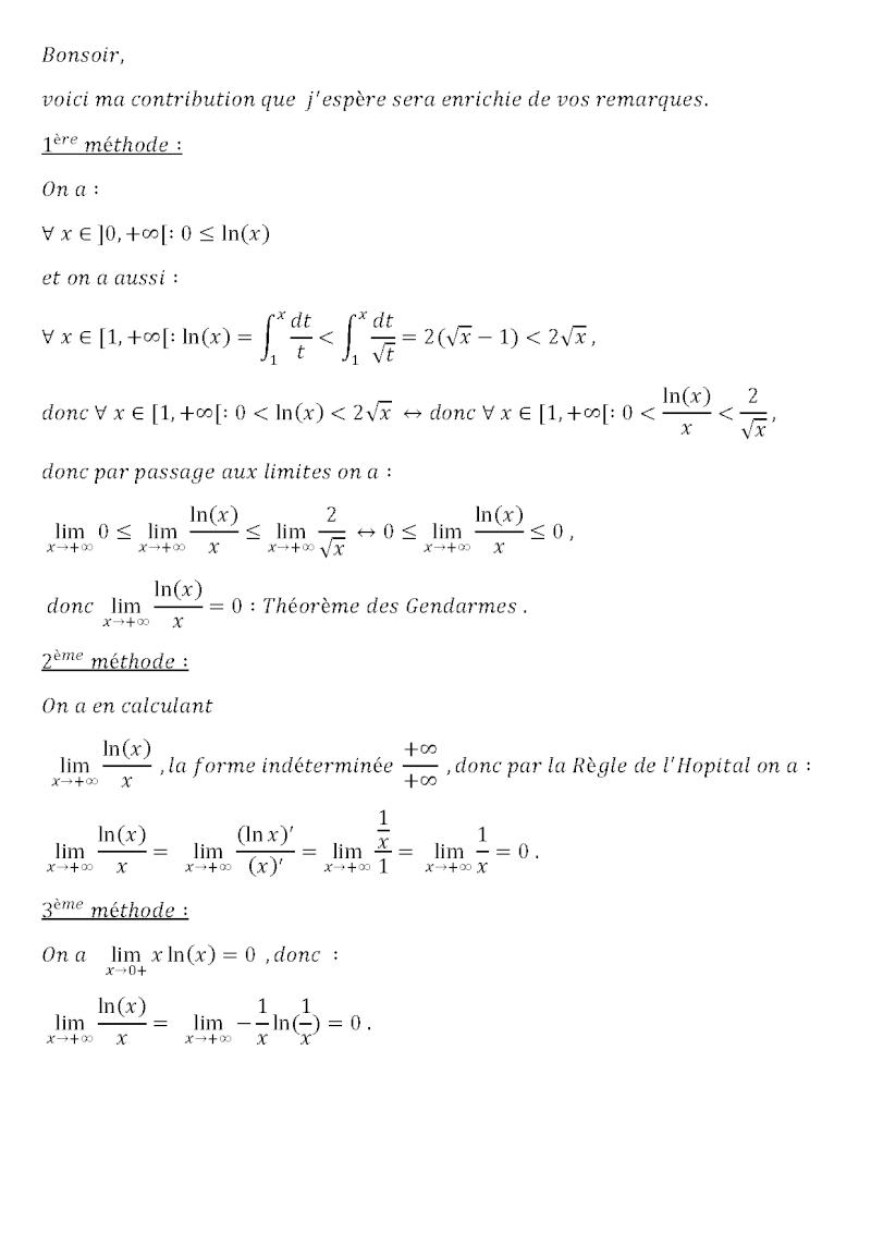lim lnx /x en +oo 1yre_m12