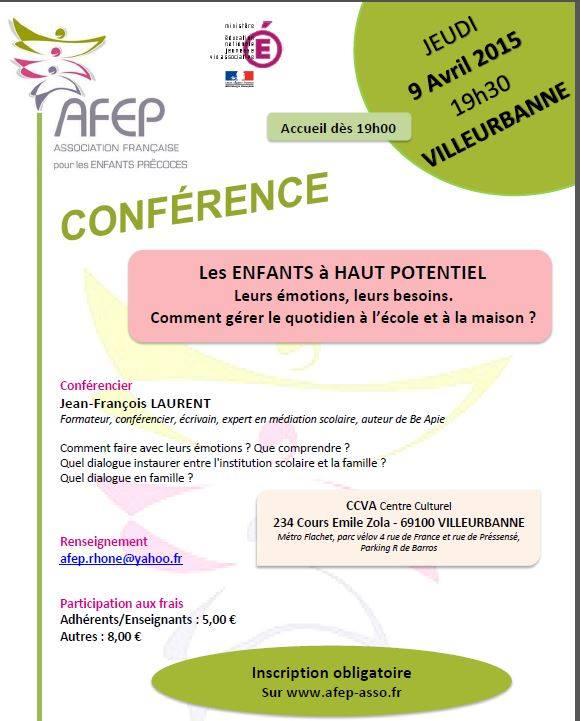 [Avril 2015 - Villeurbanne] conférence AFEP : les enfants à haut potentiel - Leurs émotions, leurs besoins 10947110