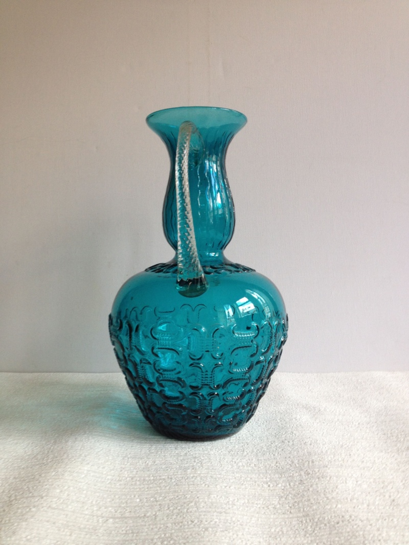Blue Glass Vase with Raised Design and Twisted Handles, Italy, Empoli? Img_1718