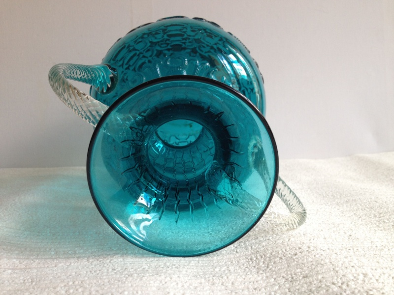 Blue Glass Vase with Raised Design and Twisted Handles, Italy, Empoli? Img_1719