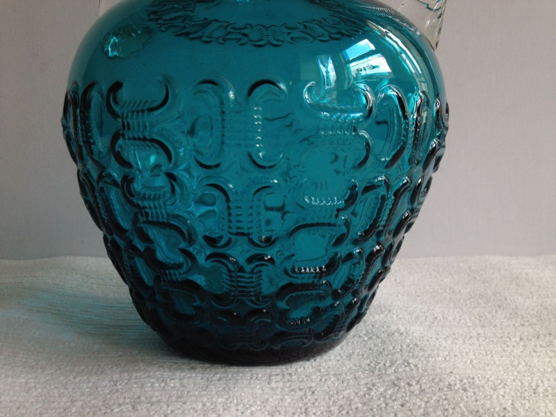 Blue Glass Vase with Raised Design and Twisted Handles, Italy, Empoli? Img_1722