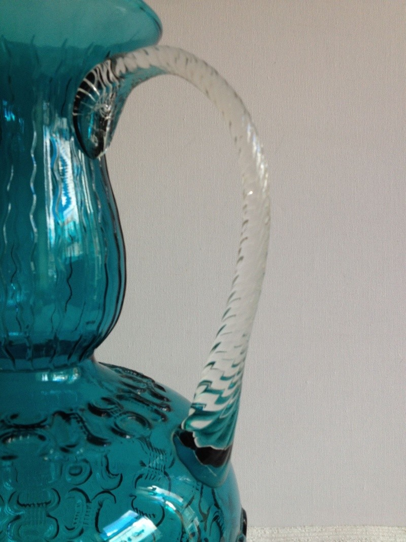 Blue Glass Vase with Raised Design and Twisted Handles, Italy, Empoli? Img_1723