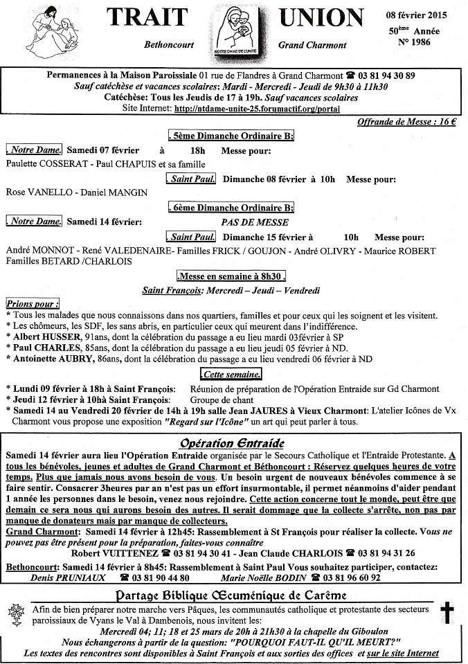 trait d'union du 8 février 2015 Tu150214