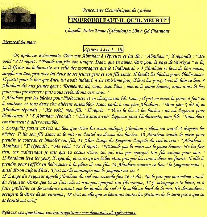 Textes des rencontres oecuméniques Tu150215