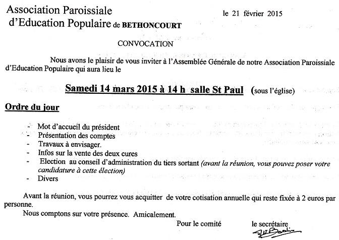 Convocation Assemblée Générale APEP Tu150224