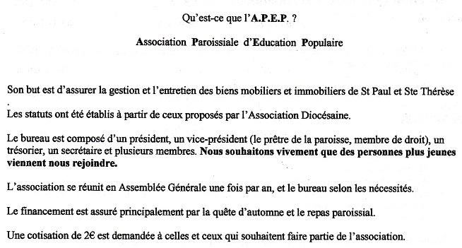 Convocation Assemblée Générale APEP Tu150225