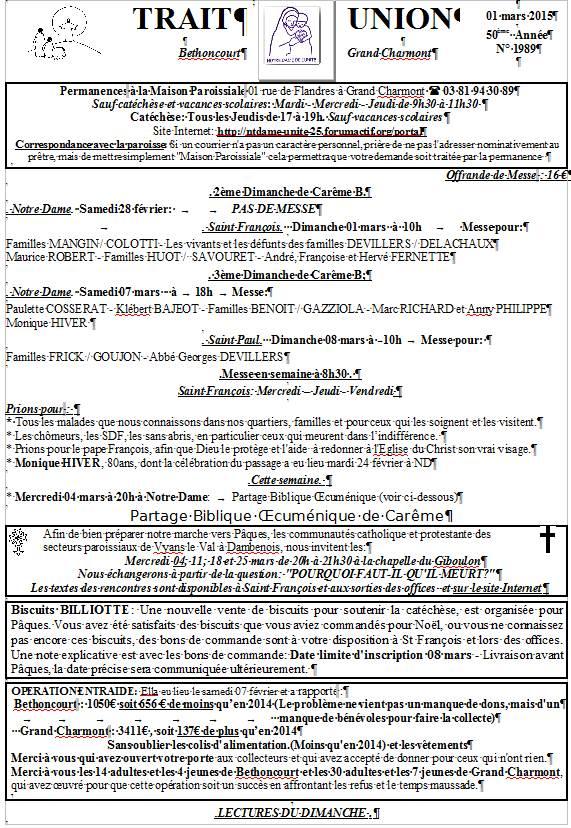 Trait d'Union du 1er mars 2015 Tu150310