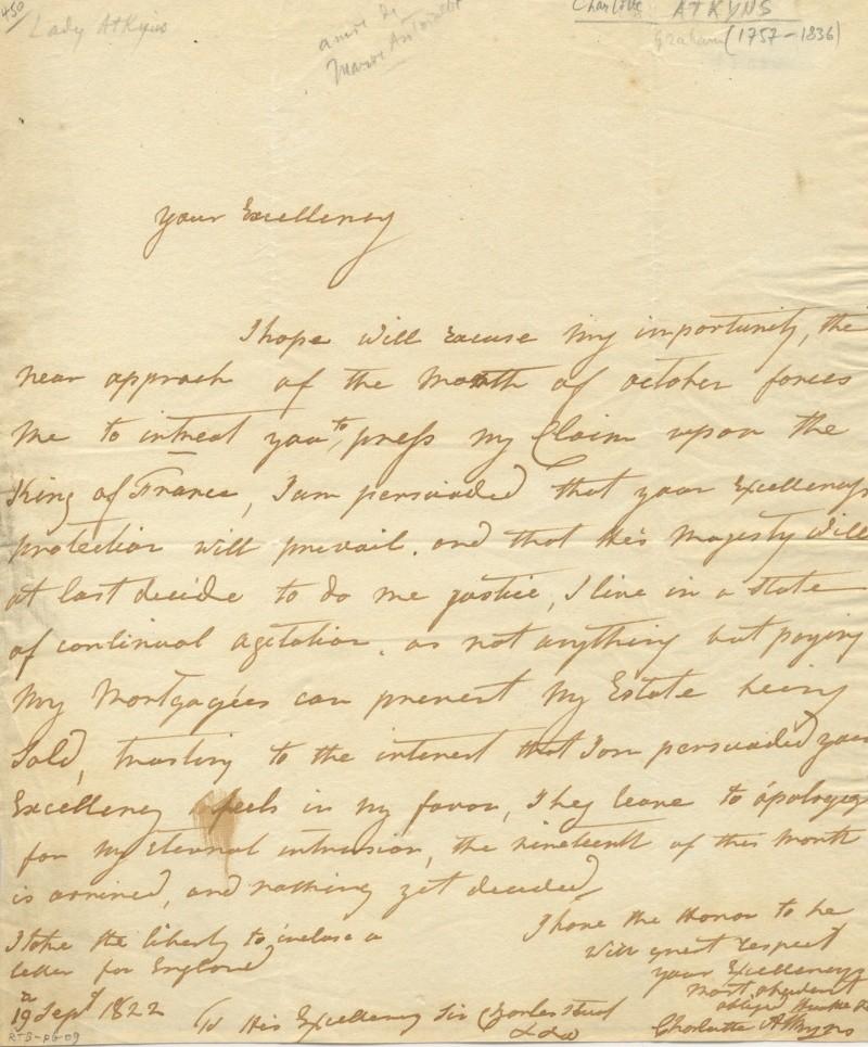 Correspondance de Charlotte Atkyns (Atkins) 14262510