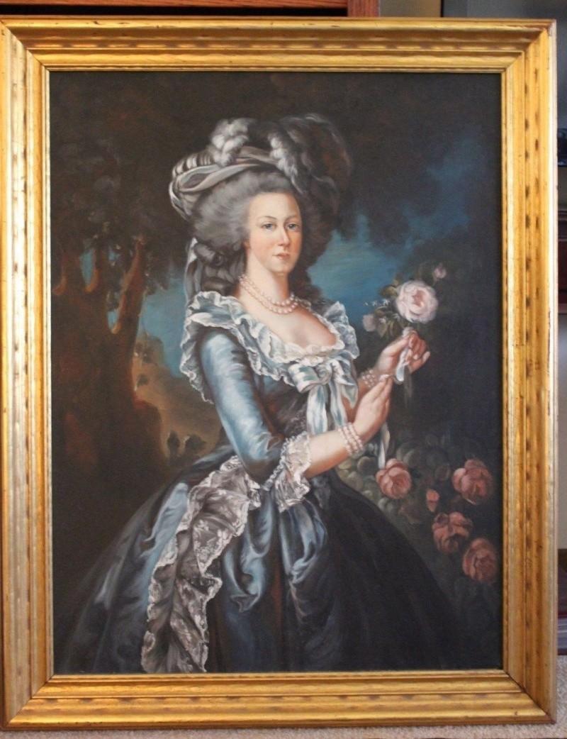 Déclinaisons sur le portraits à la rose en robe bleue, d'après Elisabeth Vigée Lebrun _5714