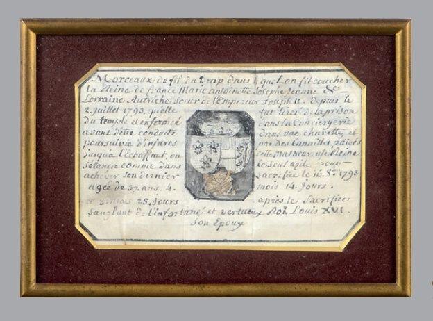 Vente de Souvenirs Historiques - aux enchères plusieurs reliques de la Reine Marie-Antoinette Zzz11