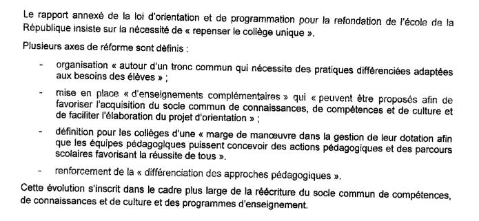 SNES : Une réforme du collège inacceptable!   23199610