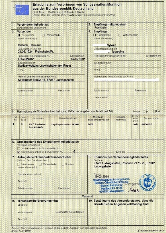 Importation arme catégorie D2 Auto_k10