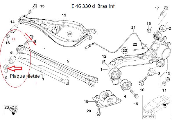 [Bmw.E46 330d Pack M:année.11/2002]Changer bras Inf suspension arrière Gauche 33_e4610