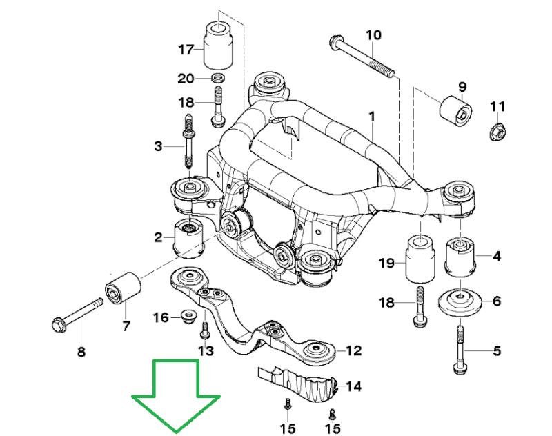 [Bmw.E46 330d Pack M:année.11/2002]Changer bras Inf suspension arrière Gauche 33_sup10