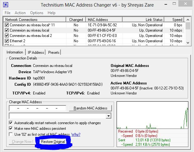Changer son adresse MAC Aaa310